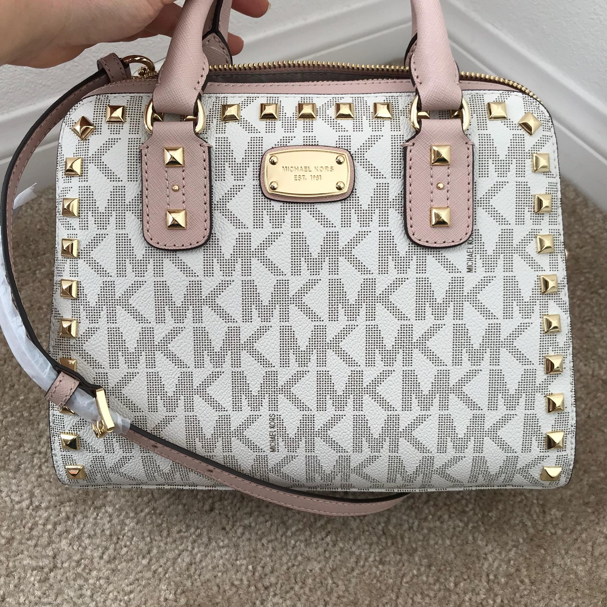 d75c90c5927f ... cheap michael kors sandrine stud small vanilla ballet pvc leather  satchel tradesy a490c 90a81