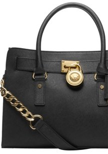 Michael Kors Gold Hardware Satchel in Black