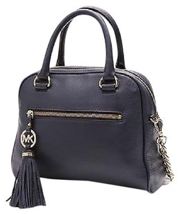 Michael Kors Michael Leather Knox Satchel in Navy Blue