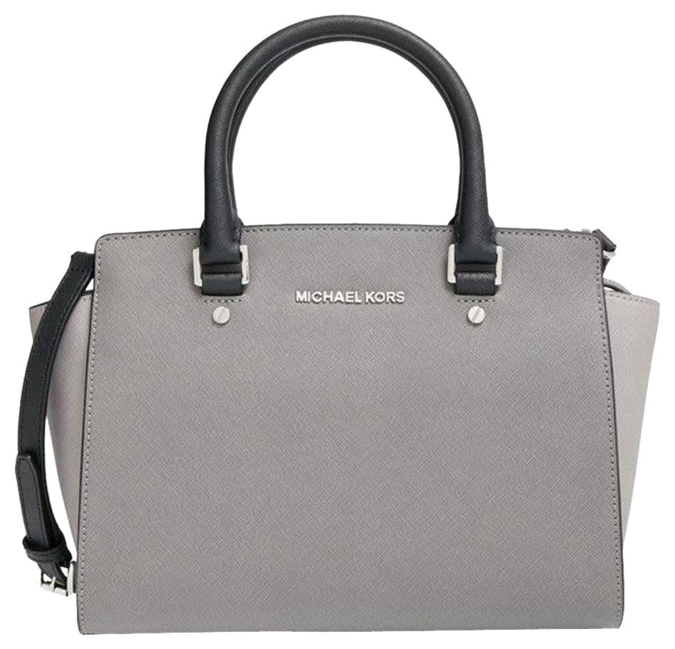 1ccbb8cdc1d4 ... get michael kors mk saffiano leather purse selma satchel in steel pearl  grey black with 95f46