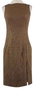 Michael Kors Beige Plaid Sleeveless Wool Blend Sheath Above Kne Dress