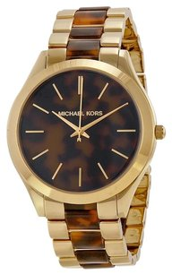 Michael Kors Slim Runway Tortoise-shell Dial Gold-tone an-shell Ladies Watch