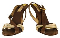 Michael Kors Womens Gold Strappy Pumps Leather Heels Brown Sandals