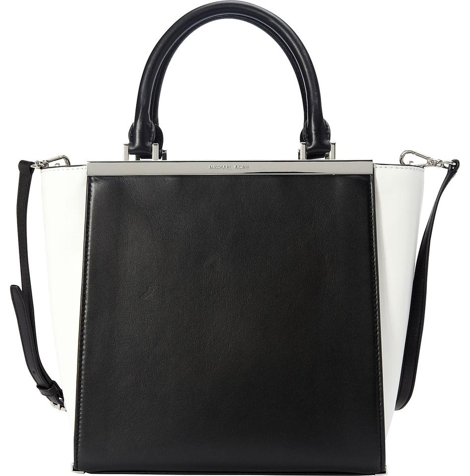 Michael Kors Lana Leather Medium Handbag Black And White Tote Bag ...