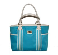 Michael Kors White Leather Canvas Goldtone Hardware Tote in Blue and off-white