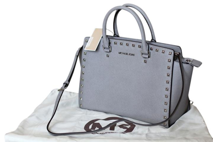 b493daa65515 ... best price michael michael kors saffiano leather studded classy roomy  sturdy silver hardware satchel in pearl