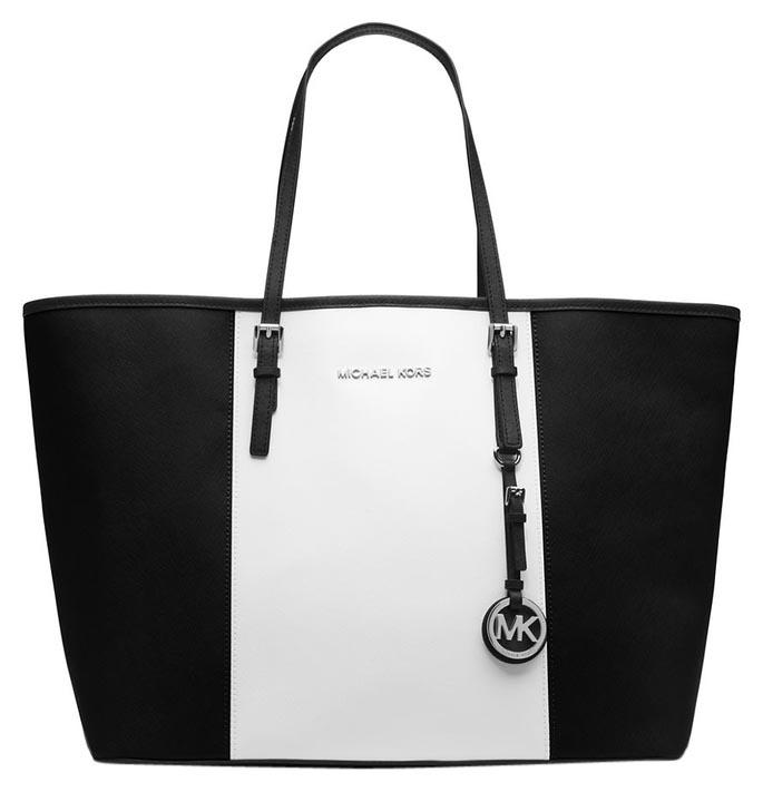 f67c36ce0c17 ... coupon michael michael kors tote in black and white 10c34 0e321 ...