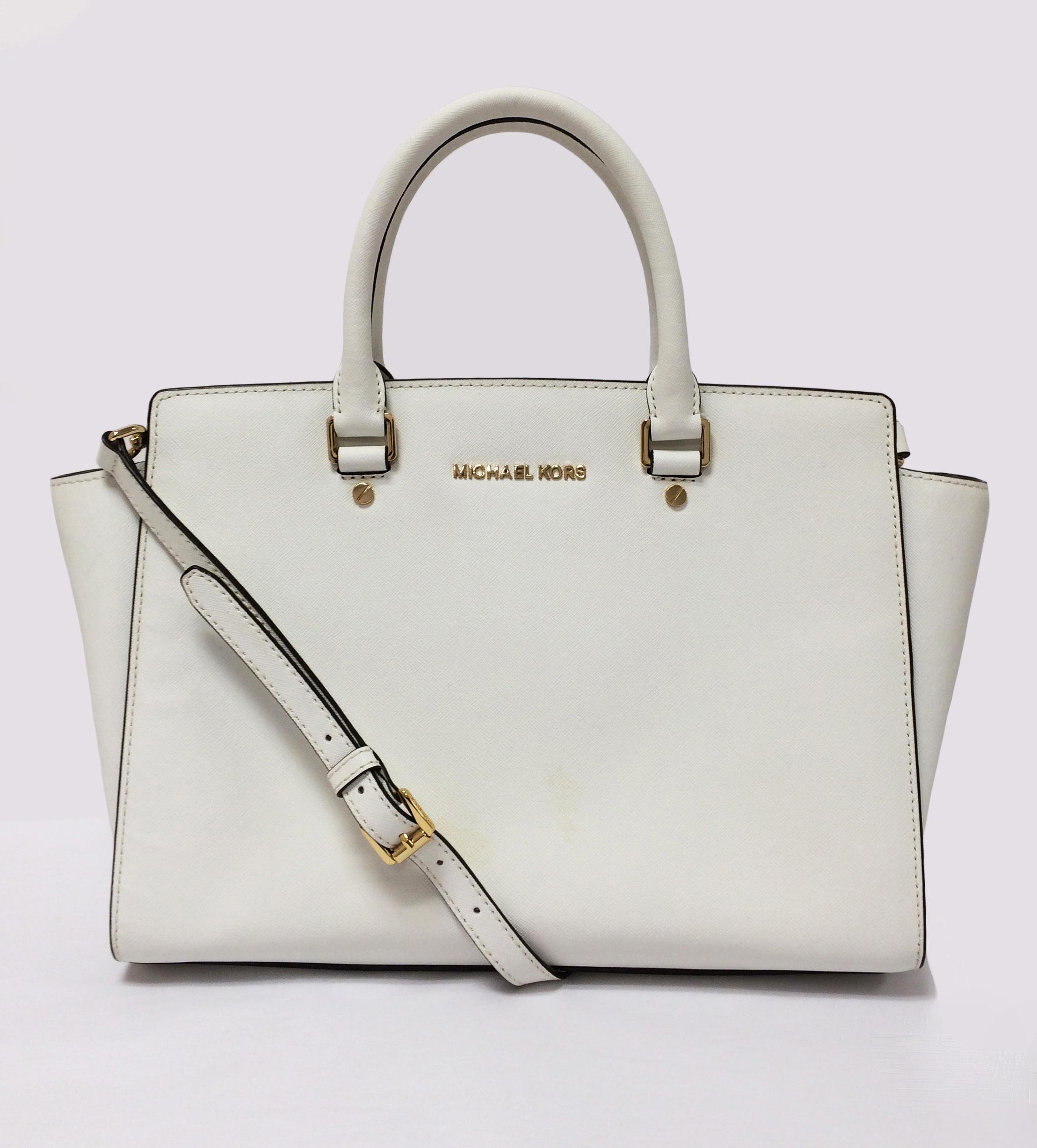 eb25588cd4 ... best price michael michael kors selma saffiano leather handbag leather  satchel in optic white 67ada 7749d