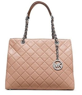 MICHAEL Michael Kors Susannah Quilted Silver Leather Tote Shoulder Bag