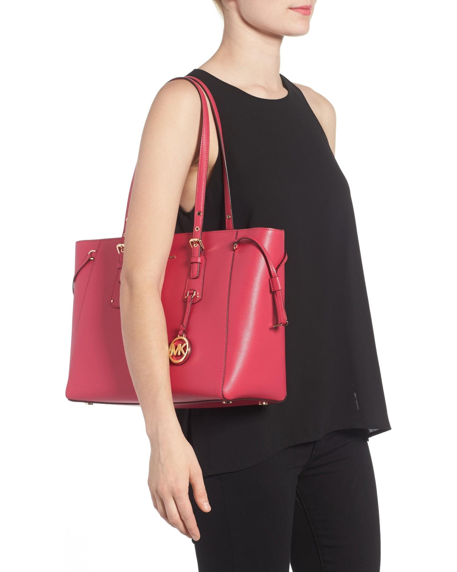 7ff4f390197e ... germany michael michael kors voyager crossgrain leather fits ipad  medium tote in ultra pink. 12345