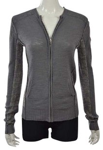 Michael Stars Womens Gray Pink Full Zip 1 Cotton Casual Jacket Sweater