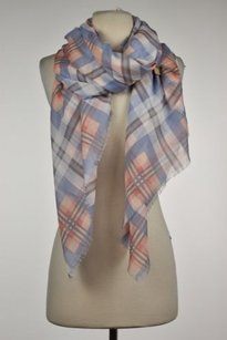 Michael Stars Michael Stars Womens Blue Plaid Scarf One Fringe Casual