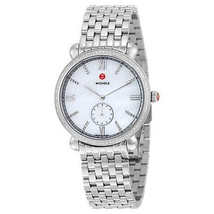 Michele Michele Gracile White Mother Of Pearl Dial Diamond Ladies Watch