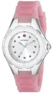 Michele Tahitian Jelly Bean Petite Silver White Topaz Stones Dial Ladies Watch