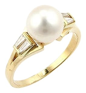 Mikimoto Mikimoto 18k Yellow Gold Pearl Diamond Ring - Size 7.25