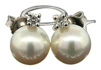 Mikimoto MIKIMOTO 18K WHITE GOLD AKOYA PEARL & DIAMOND STUD EARRINGS