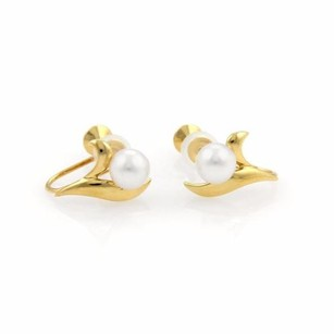 Mikimoto Mikimoto 5mm Pearls 18k Yellow Gold Leaf Design Screw Back Earrings