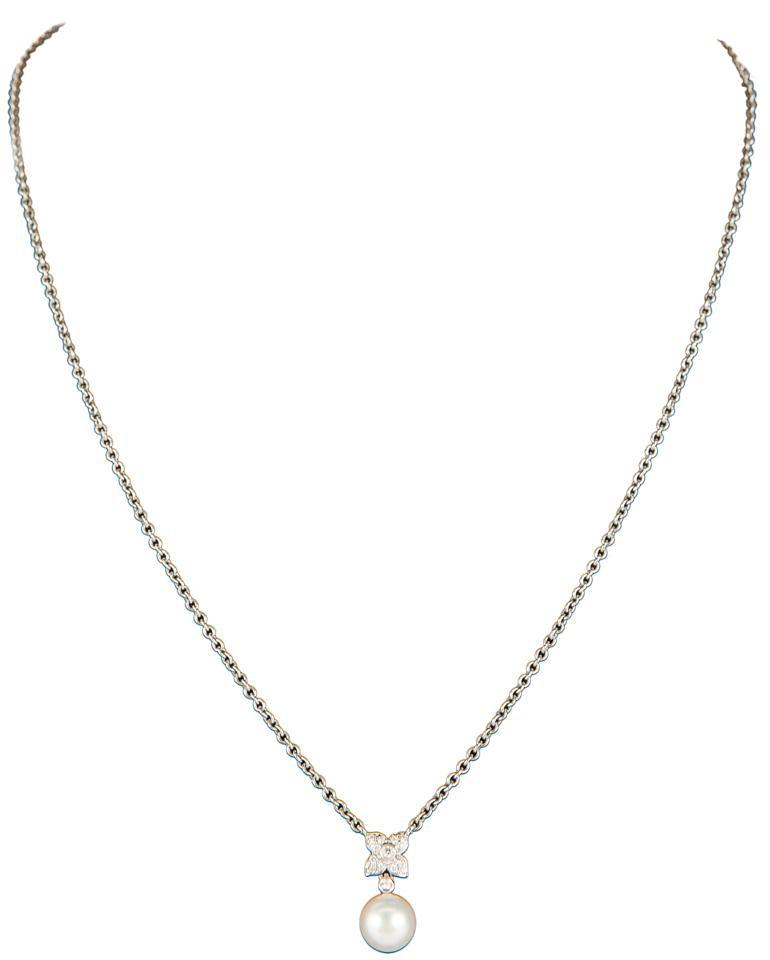 Very best Mikimoto Pearl And Diamond Four Leaf Clover Necklace - Tradesy SO28