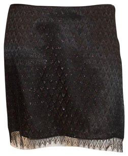 MILLY 100 Silk Metallic Silver Lace Occasion Mini Hs1440 Mini Skirt Black