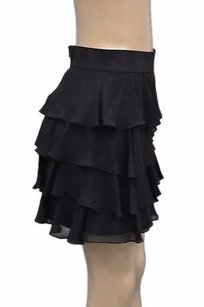 MILLY Silk Tiered Skirt Black