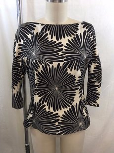 MILLY Black Print 34 Top Black/ Cream