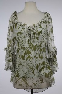 MILLY Womens Floral Top Ivory