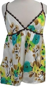 MILLY Creamtealbrown Silk Floral Cami Silk Straps 10us40euc Top Multi-Color