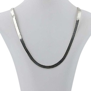 Milor Milor Reversible Herringbone Chain Necklace 24 - Sterling Silver Textured