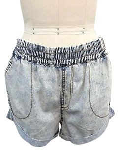 MINKPINK Mink Pink Light Wash Denim Cut Off Shorts Blue
