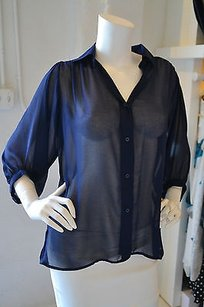 MINKPINK Midnight Blue Button Down Top