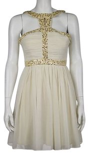 Minuet Petite Minuet Womens Ivory Yellow Sheath Sequined Formal Above Knee Dress