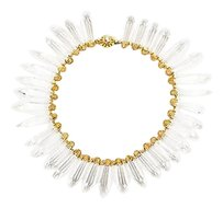 Miriam Haskell Vintage Miriam Haskell Gold Tone Clear Glass Crystal Spiked Collar Necklace
