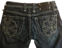 Miss Me Floral Embroidered Embellished Stretchy Boot Cut Jeans-Dark Rinse
