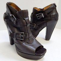 Miss Sixty Leather Open Brown Platforms