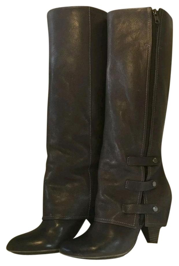 miss sixty brown leather knee high overheel boots
