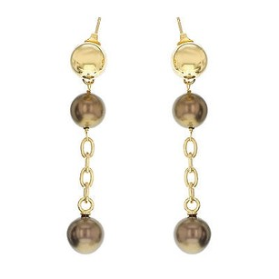 Miss Sixty Miss Sixty Yellow With Black Faux Pearls Ladies Dangle Earrings