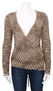 Missoni Multi Color Slub Wrap Front V Sweater