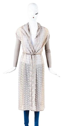 Missoni Taupe Multicolor Metallic Knit Fabiana Belted Long Cardigan low-cost