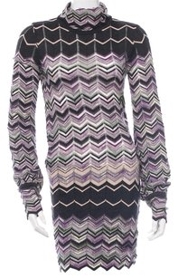 Missoni short dress Purple, Black Longsleeve Striped Turtleneck Chevron Logo on Tradesy