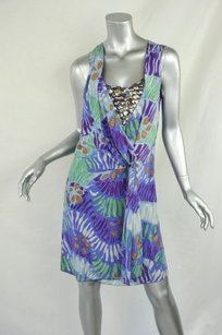 Missoni Printed Beaded Silk Sleeveless Draped Dress