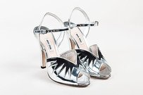 Miu Miu Black Leather Silver Sandals