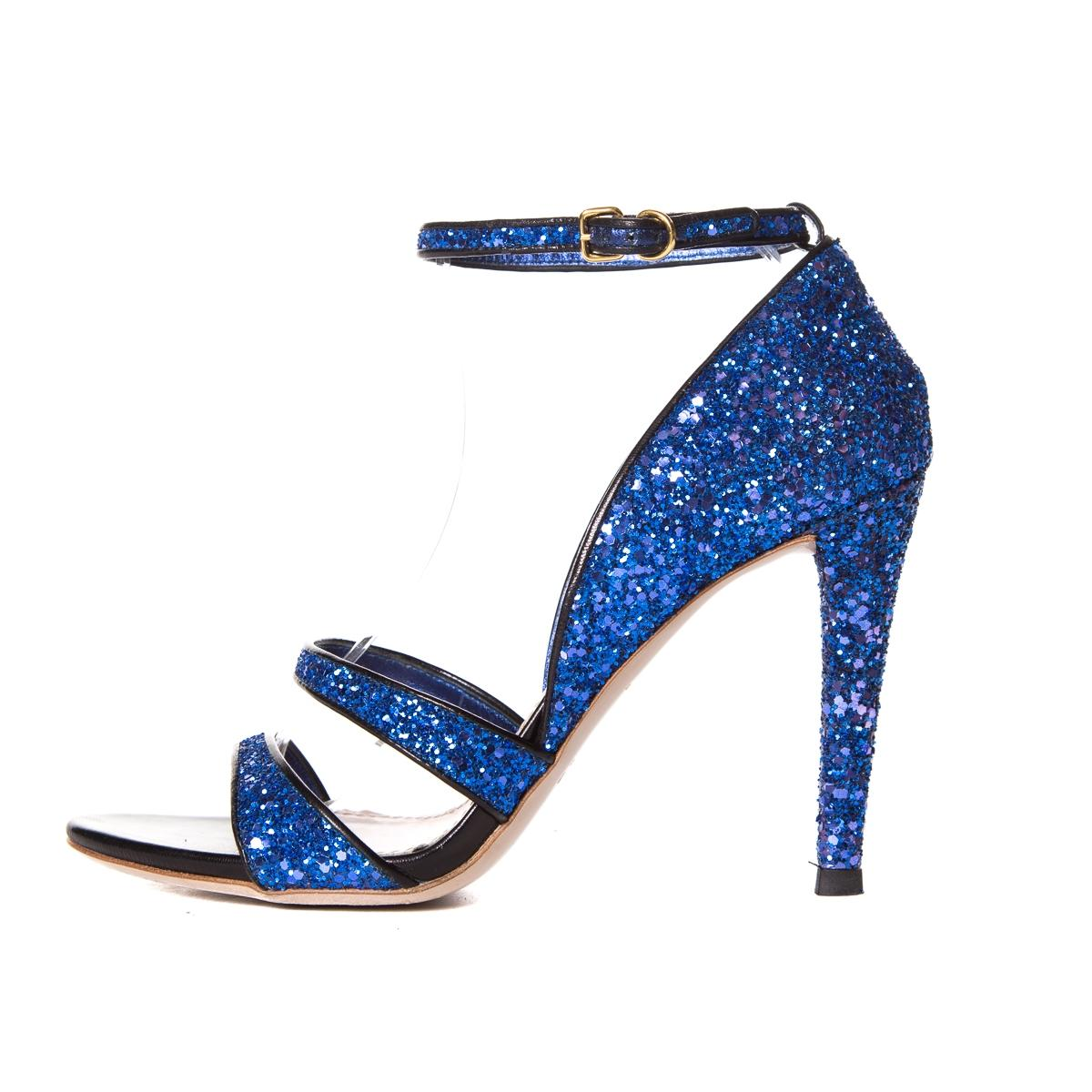 glitter heel bow sandals - Blue Miu Miu