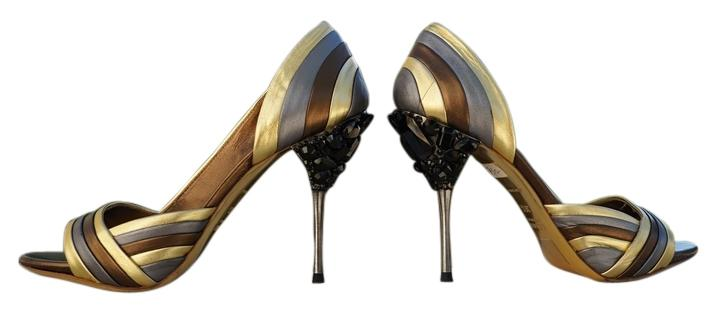 Miu Miu Bronze/Gold/Silver Metallic Peep-toe Bejeweled Heels Pumps ...