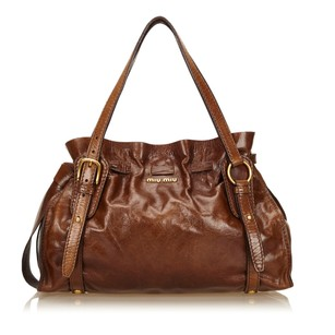 Miu Miu Brown Leather Others 6gmmsh002 Shoulder Bag