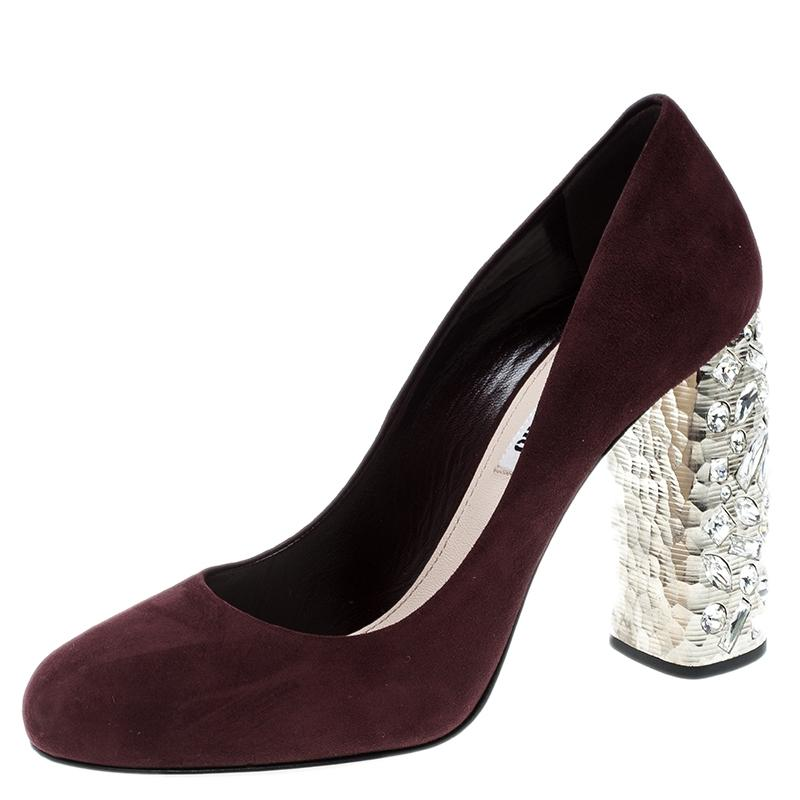Miu Miu Burgundy Suede Jewel Pumps Size EU 38 (Approx. US 8) Regular (M, B)