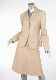 Miu Miu Miu Miu Natural Tan Beige Leather Button Blazer A Line Skirt Suit Sz.