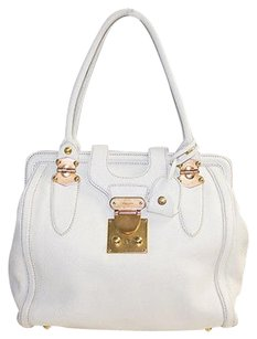 Miu Miu Leather Satchel in White