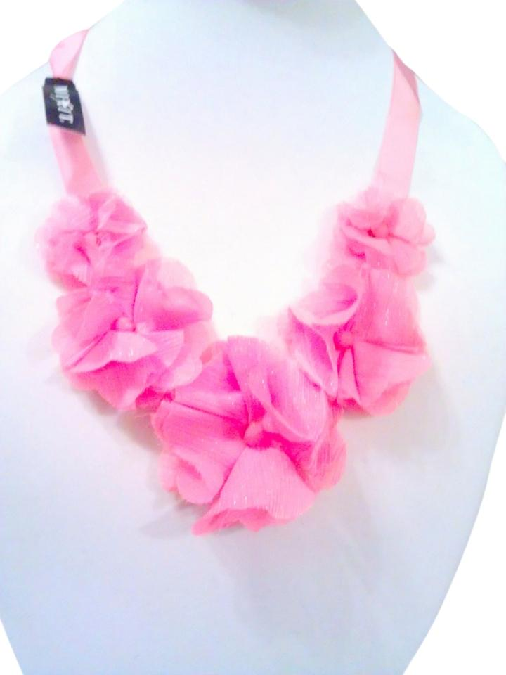 Mixit Silk Pink Roses Statement Necklace Adjustable   Closet Special Gift  Deal !