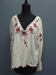 Moda International Floral Textured Long Sleeve 3397a Top Off White And Red