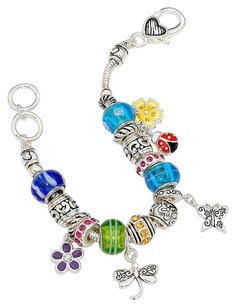 Other Butterfly & flower charm colorful multi-bead bracelet